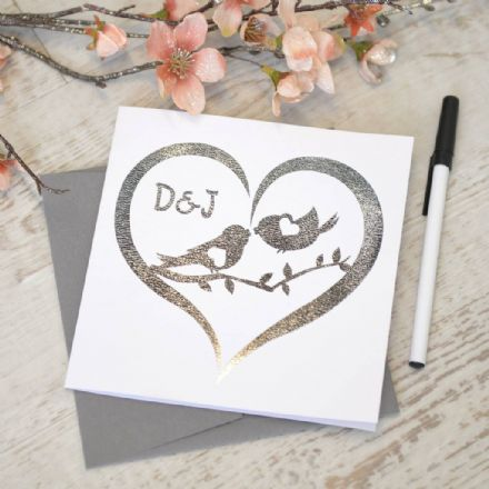 Personalised Metallic Silver Love Bird Card